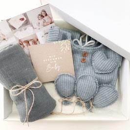 Dein erstes Babyoutfit / Babyphotobox / Graublau