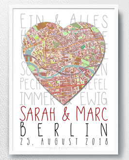 Heiraten - Typografie + Map - ab 14,90 €