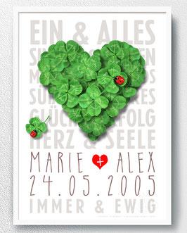Personalisiert, Glücksklee-Herz - ab 13,90 €