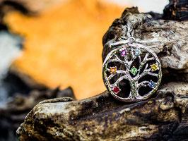 Yggdrasil - der Weltenbaum Chakra Anhänger Rhodium Immitat