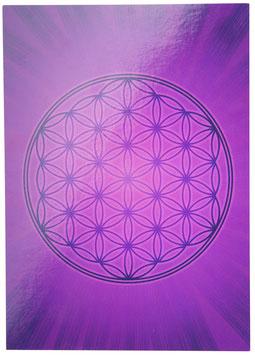 Postkarte Blume des Lebens mit Aufkleber