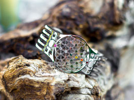 Blume des Lebens Armreif mit 7 Chakrakristallen