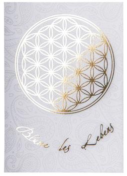 Postkarte Blume des Lebens mit Goldprägung oder Silberprägung
