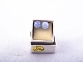 Ohrstecker mit blauer Chalcedonkugel