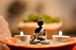 Glücksbuddha in Geschenktüte Schwarz/Silber