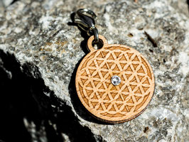 Blume des Lebens - Holz-Charm mit Kristall
