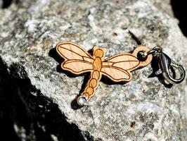 Libelle - Holz-Charm mit Kristall