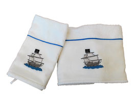 SET ASCIUGAMANI NAVE PIRATA / PIRATE VESSEL TOWELS SET