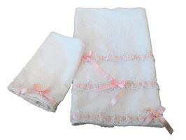 SET ASCIUGAMANI INTRECCIO ROSA / PINK INTRECCIO TOWELS SET