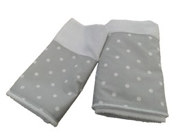 SET ASCIUGAMANI POIS BIANCO SU GRIGIO / WHITE POLKA DOTS ON GREY TOWELS SET