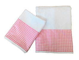 COPPIA ASCIUGAMANI QUADRETTI ROSA / PINK CHEQUES TOWELS SET