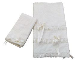 COPPIA ASCIUGAMANI INTRECCIO BIANCO / WHITE INTRECCIO TOWELS SET