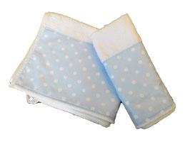 COPPIA ASCIUGAMANI POIS BIANCO SU CELESTE / WHITE POLKA DOTS ON LIGHT BLUE TOWELS SET