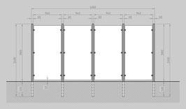 Glaszaun - Komplettset HB-G4