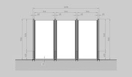 Glaszaun - Komplettset SD-G3