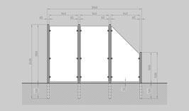 Glaszaun - Komplettset HB-G2SR