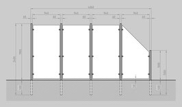 Glaszaun - Komplettset HB-G3SR
