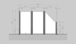 Glaszaun - Komplettset SD-G2SR
