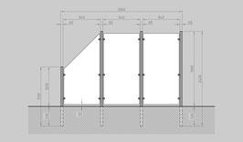 Glaszaun - Komplettset HB-G2SL
