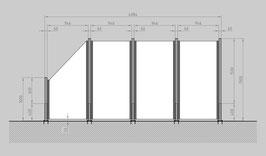 Glaszaun - Komplettset SD-G3SL