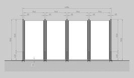 Glaszaun - Komplettset SD-G4