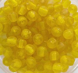 Glasperlen rund 4 mm gelb matt