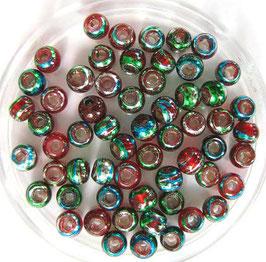 Glasperlen 4 mm  rot-bunt