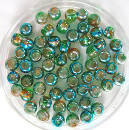Glasperlen 4 mm  braun-grün