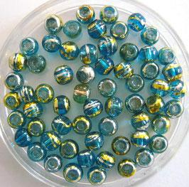 Glasperlen 4 mm  türkis-bunt