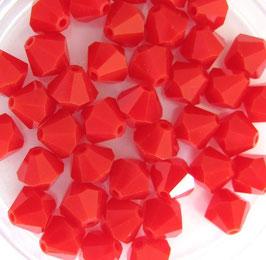 Dark Red Coral Satin Bicone 6 mm