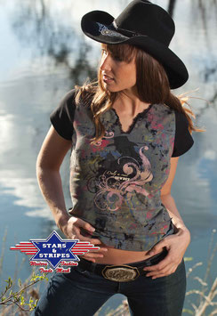 Stars & Stripes Western - T-Shirt ,,Baby Blue,,