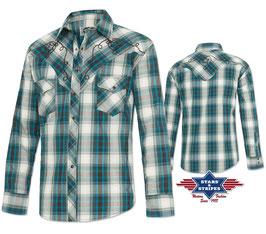 Stars & Stripes   Western-Herrenhemd ,,Jeff Blue,,