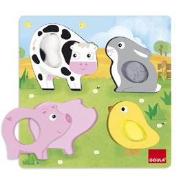 Puzzle tattile 1-2 anni animali fattoria