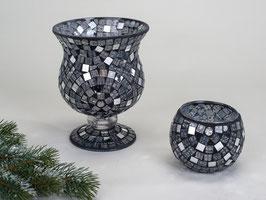 Coppa mosaico nero argento