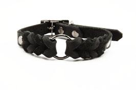 Halsband Leder geflochten schwarz