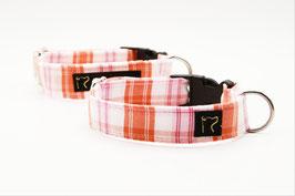 Stoffhalsband orange/rosa kariert mit Klickverschluss