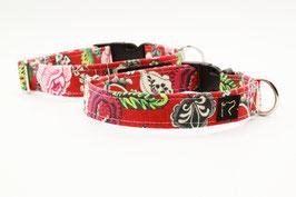 Stoffhalsband rot mit Blumenmuster