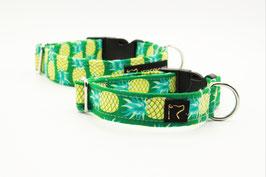 Stoffhalsband grün Ananas