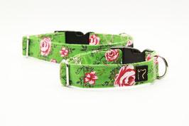 Stoffhalsband grün mit Rosen