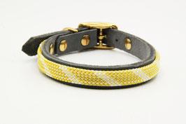 Halsband Leder mit Kletterseil grau mit gelb