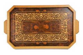 Vassoio in legno intarsiato