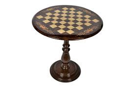 Tavolino da gioco rotondo scacchi scacchiera