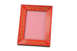 Cornice porta foto intarsiata rossa