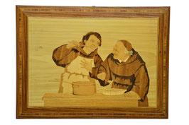 Quadro in legno intarsiato Frati in cucina