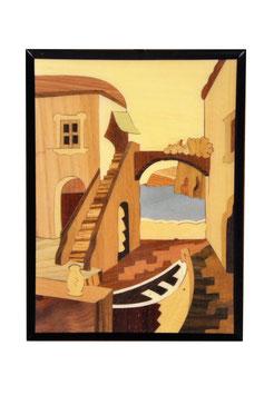 Quadro in legno intarsiato veduta di Sorrento qp1520-1