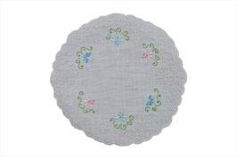 Melany centro rotondo in puro lino ricamo fiori