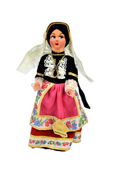 Bambola da collezione in lenci costume Quartu S. Elena