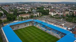 CFC-Stadion Rückansicht mit Blick auf Chemnitz
