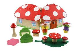 Fliegenpilz Puppenhaus aus Holz 11teilig