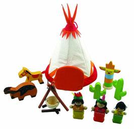 Indianerzelt mit Figuren und Lagerfeuer 11teilig